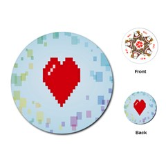 Red Heart Love Plaid Red Blue Playing Cards (Round)