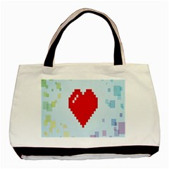 Red Heart Love Plaid Red Blue Basic Tote Bag