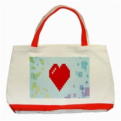 Red Heart Love Plaid Red Blue Classic Tote Bag (Red)