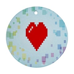 Red Heart Love Plaid Red Blue Round Ornament (Two Sides)
