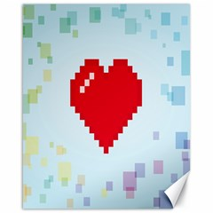 Red Heart Love Plaid Red Blue Canvas 16  x 20