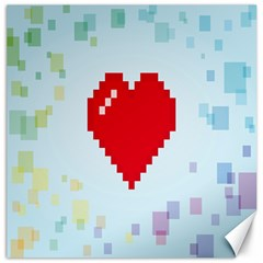 Red Heart Love Plaid Red Blue Canvas 20  x 20