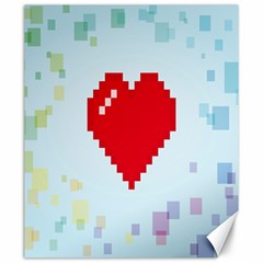 Red Heart Love Plaid Red Blue Canvas 20  x 24
