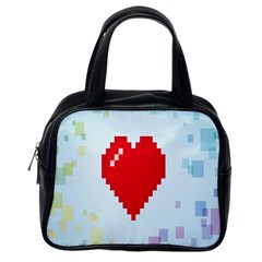 Red Heart Love Plaid Red Blue Classic Handbags (One Side)