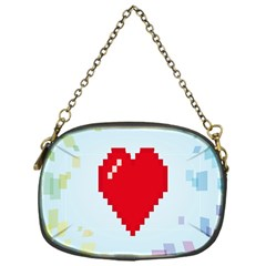 Red Heart Love Plaid Red Blue Chain Purses (One Side)