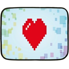 Red Heart Love Plaid Red Blue Fleece Blanket (mini)