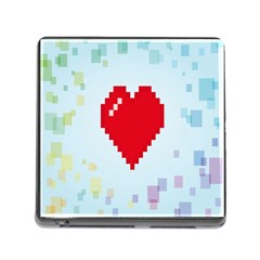 Red Heart Love Plaid Red Blue Memory Card Reader (Square)