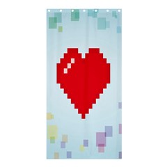 Red Heart Love Plaid Red Blue Shower Curtain 36  x 72  (Stall)