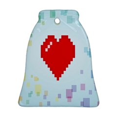 Red Heart Love Plaid Red Blue Bell Ornament (Two Sides)