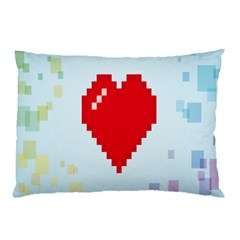 Red Heart Love Plaid Red Blue Pillow Case (Two Sides)