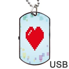 Red Heart Love Plaid Red Blue Dog Tag USB Flash (Two Sides)