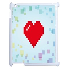 Red Heart Love Plaid Red Blue Apple Ipad 2 Case (white)