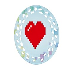 Red Heart Love Plaid Red Blue Ornament (Oval Filigree)