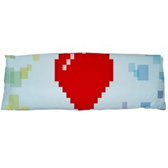 Red Heart Love Plaid Red Blue Body Pillow Case Dakimakura (Two Sides)