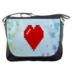 Red Heart Love Plaid Red Blue Messenger Bags