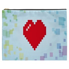 Red Heart Love Plaid Red Blue Cosmetic Bag (XXXL)