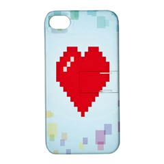Red Heart Love Plaid Red Blue Apple iPhone 4/4S Hardshell Case with Stand