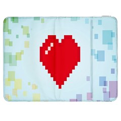 Red Heart Love Plaid Red Blue Samsung Galaxy Tab 7  P1000 Flip Case