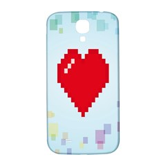 Red Heart Love Plaid Red Blue Samsung Galaxy S4 I9500/I9505  Hardshell Back Case