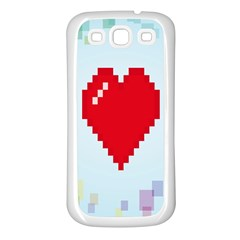 Red Heart Love Plaid Red Blue Samsung Galaxy S3 Back Case (White)