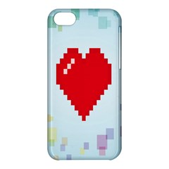 Red Heart Love Plaid Red Blue Apple iPhone 5C Hardshell Case