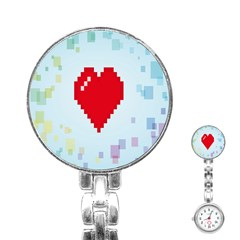 Red Heart Love Plaid Red Blue Stainless Steel Nurses Watch
