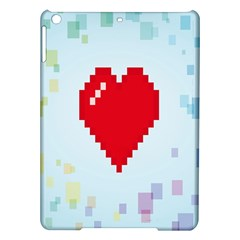 Red Heart Love Plaid Red Blue iPad Air Hardshell Cases
