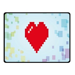 Red Heart Love Plaid Red Blue Double Sided Fleece Blanket (Small)