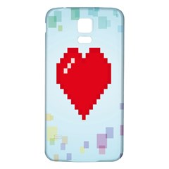 Red Heart Love Plaid Red Blue Samsung Galaxy S5 Back Case (White)