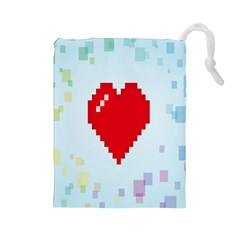 Red Heart Love Plaid Red Blue Drawstring Pouches (Large)