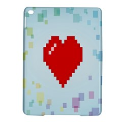 Red Heart Love Plaid Red Blue iPad Air 2 Hardshell Cases