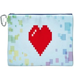 Red Heart Love Plaid Red Blue Canvas Cosmetic Bag (XXXL)