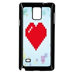 Red Heart Love Plaid Red Blue Samsung Galaxy Note 4 Case (Black)
