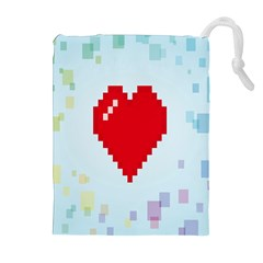 Red Heart Love Plaid Red Blue Drawstring Pouches (Extra Large)