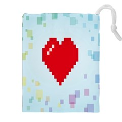 Red Heart Love Plaid Red Blue Drawstring Pouches (XXL)