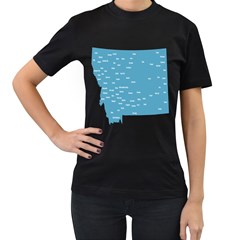 Peta Anggota City Blue Eropa Women s T-Shirt (Black) (Two Sided)