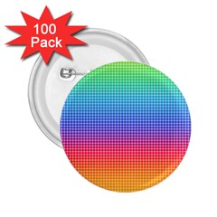 Plaid Rainbow Retina Green Purple Red Yellow 2.25  Buttons (100 pack)
