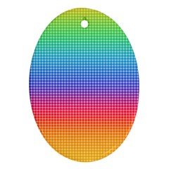 Plaid Rainbow Retina Green Purple Red Yellow Oval Ornament (Two Sides)