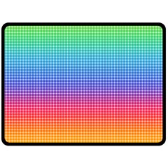 Plaid Rainbow Retina Green Purple Red Yellow Double Sided Fleece Blanket (Large)