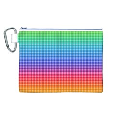 Plaid Rainbow Retina Green Purple Red Yellow Canvas Cosmetic Bag (L)
