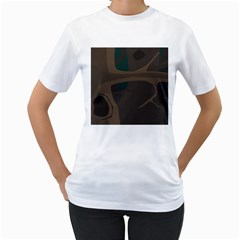 Tree Jungle Brown Green Women s T-Shirt (White) (Two Sided)