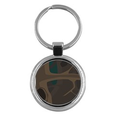 Tree Jungle Brown Green Key Chains (Round)