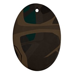 Tree Jungle Brown Green Oval Ornament (Two Sides)