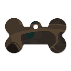 Tree Jungle Brown Green Dog Tag Bone (Two Sides)