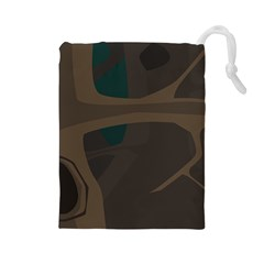 Tree Jungle Brown Green Drawstring Pouches (Large)