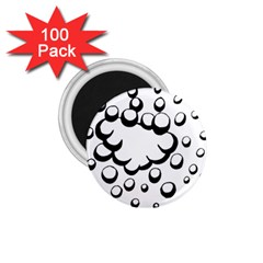 Splash Bubble Black White Polka Circle 1.75  Magnets (100 pack)