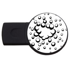 Splash Bubble Black White Polka Circle USB Flash Drive Round (1 GB)