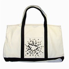 Splash Bubble Black White Polka Circle Two Tone Tote Bag