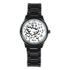 Splash Bubble Black White Polka Circle Stainless Steel Round Watch