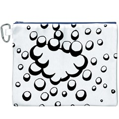 Splash Bubble Black White Polka Circle Canvas Cosmetic Bag (XXXL)